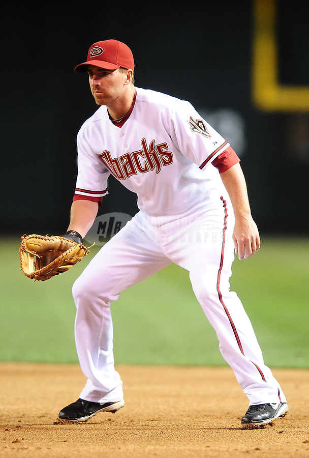 Apr. 6, 2010; Phoenix, AZ, USA; Arizona Diamondbacks first baseman Adam LaRoche against the San Diego Padres at Chase Field. Mandatory Credit: Mark J. Rebilas-