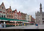 Restaurants and Neogothic Ministry of Public Works, Market Square, Bruges, Brugge, Belgium