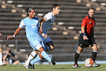 18 September 2015: North Carolina's Raby George (SWE) (33) and Notre Dame's Evan Panken (15). The University of North Carolina Tar Heels hosted the University of Notre Dame Fighting Irish at Fetzer Field in Chapel Hill, NC in a 2015 NCAA Division I Men's Soccer match. North Carolina won the game 4-2