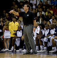 US Men's Basketball head coach Mike Krzyewski yells to his team at the Cotai Arena in the Venetian Macau Hotel & Resort.  The US defeated Turkey, 114-82.