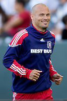 Newly acquired Freddie Ljungberg now with the Chicago Fire is all smiles while warming to enter the match. The Chicago Fire beat the LA Galaxy 3-2 at Home Depot Center stadium in Carson, California on Sunday August 1, 2010.