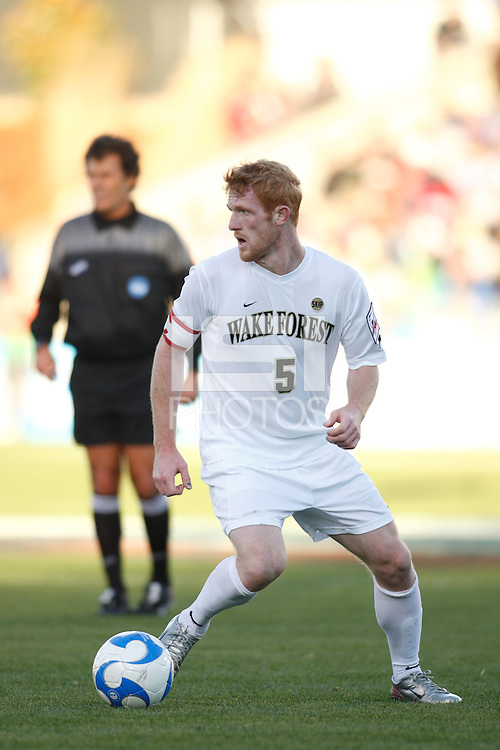 Wake Forest Demon Deacons defender Pat Phelan (5). The Wake Forest Demon Deacons defeated the Ohio State Buckeyes 2-1 in the finals of the NCAA College Cup at SAS Stadium in Cary, NC on December 16, 2007.