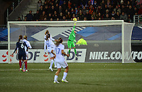 Lorient, France. - Sunday, February 8, 2015: Goalkeeper Ashlyn Harris (24) of the USWNT. USWNT vs France during an international friendly at the Stade du Moustoir.