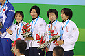 Japan Women's team group (JPN), AUGUST 18, 2011 - Swimming : The 26th Summer Universiade 2011 Shenzhen Women's 4100m Medley Relay Final at Natatorium of Universiade Center, Shenzhen, China. (Photo by YUTAKA/AFLO SPORT) [1040]