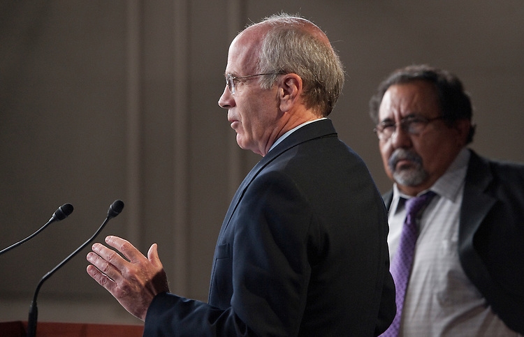 UNITED STATES – OCTOBER 13: Chief Deputy Democratic Whip Rep. Peter Welch, D-Vt., holds a news conference with Rep. Raul Grijalva, D-Ariz., on Thursday, Oct. 13, 2011, on new banking fees being imposed on consumers. (Photo By Bill Clark/CQ Roll Call)