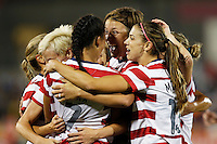 Commerce City, Colorado - Wednesday September 19, 2012; The US WNT defeated the National team of Australia 6-2 during an International friendly game at Dick's Sporting Goods Park.  Teammates congratulate Shannon Boxx (7) after her goal on a header against Australia.
