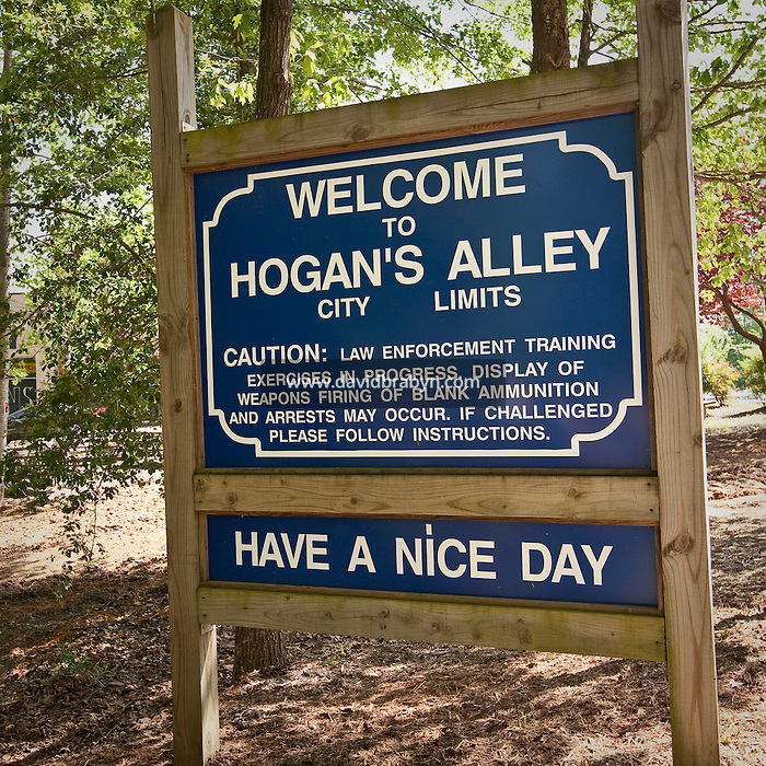 View of a sign welcoming visitors to Hogan's Alley, a tactical training facility designed to provide a realistic urban setting for training agents, at the FBI National Academy in Quantico, VA, USA, 12 May 2009.