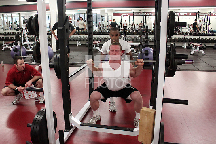 STANFORD, CA - JUNE 22:  Ryan Whalen of the Stanford Cardinal during a weight room session on June 22, 2010 in the Arrillaga Family Sports Center in Stanford, California.