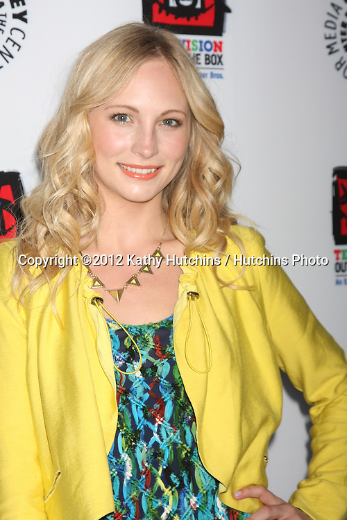 LOS ANGELES - APR 12:  Candice Accola arrives at Warner Brothers &quot;Television: Out of the Box&quot; Exhibit Launch at Paley Center for Media on April 12, 2012 in Beverly Hills, CA