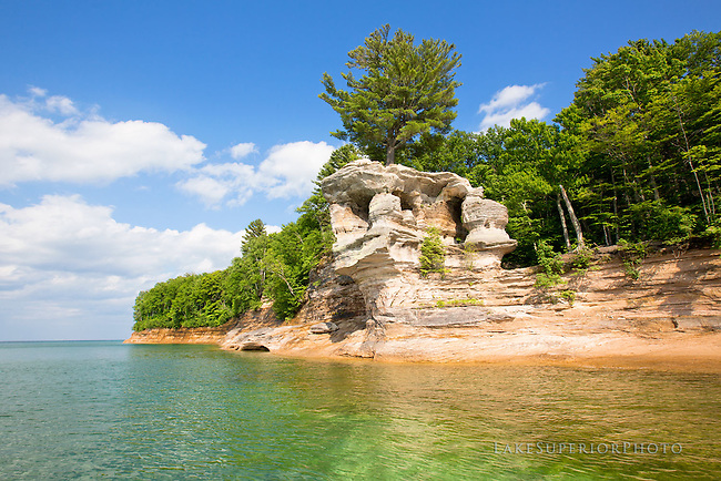 The Chapel Rock, summer, Pictured Rocks, National Lakeshore, Lake Superior