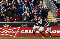 Sebastien Le Toux (11) of the Philadelphia Union celebrates scoring with teammates  during the first half against Sporting Kansas City during a Major League Soccer (MLS) match at PPL Park in Chester, PA, on March 2, 2013.