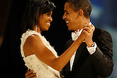 Washington, DC - January 20, 2009 -- United States President Barack Obama dances with his wife and First Lady Michelle Obama during the Western Inaugural Ball on January 20, 2009 in Washington, DC.  .Credit: Chip Somodevilla - Pool via CNP