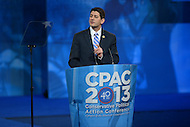 March 14, 2013  (National Harbor, Maryland)  Rep. Paul Ryan addresses attendees of the 2013 Conservative Political Action Conference (CPAC) in National Harbor, MD.  (Photo by Don Baxter/Media Images International)