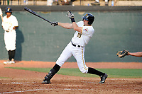 First baseman Nathan Tomaszewski (10) of the Bristol Pirates bats in a game against the Greeneville Astros on Saturday, July 26, 2014, at DeVault Memorial Stadium in Bristol, Virginia. Greeneville won, 2-1 in Game 1 of a doubleheader. (Tom Priddy/Four Seam Images)