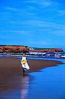 Girl portraying &quot;Anne of Green Gables&quot; on beach near Park Corner, Prince Edward Island, Canada
