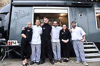 The staff at the Get Battered food truck pose for a photo. Aviva Premiership match, between Bath Rugby and Exeter Chiefs on October 17, 2015 at the Recreation Ground in Bath, England. Photo by: Patrick Khachfe / Onside Images