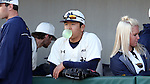 CARY, NC - MARCH 04: Notre Dame's Daniel Jung blows a bubble in the dugout. The University of Rhode Island Rams played the University of Notre Dame Fighting Irish on March 4, 2017, at USA Baseball NTC Field 3 in Cary, NC in a Division I College Baseball game, and part of the Irish Classic tournament. Notre Dame won the game 8-4.