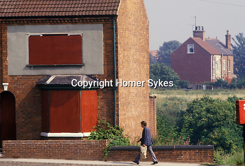 Miners strike. Shirebrook Derbyshire UK. 1984. Some miners left area or were forced out as they did not strike.