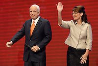 St. Paul, MN - September 3, 2008: Alaska Governor and Republican Vice Presidental nominee Sarah Palin and Senator and Republican Presidential nominee John McCain at the 2008 Republican National Convention at the Excel Center in St. Paul, Minnesota.