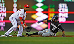 16 August 2008: Colorado Rockies' center fielder Willy Taveras slides safely, stealing second base in the first inning against the Washington Nationals at Nationals Park in Washington, DC.  The Rockies defeated the Nationals 13-6, handing the last place Nationals their 9th consecutive loss. ..Mandatory Photo Credit: Ed Wolfstein Photo
