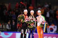 SCHAATSEN: HEERENVEEN: Thialf, Essent ISU World Single Distances Championships, 25-03-2012, Podium 500m Ladies, Jing Yu (CHN), Sang-Hwa Lee (KOR), Thijsje Oenema (NED), ©foto Martin de Jong