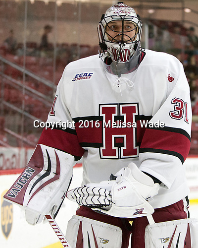 Merrick Madsen (Harvard - 31) - The Harvard University Crimson defeated the visiting Boston College Eagles 5-2 on Friday, November 18, 2016, at the Bright-Landry Hockey Center in Boston, Massachusetts.