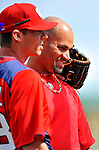 3 March 2011: St. Louis Cardinals' first baseman Albert Pujols is greeted by former teammate Rick Ankiel prior to a Spring Training game against the Washington Nationals at Roger Dean Stadium in Jupiter, Florida. The Cardinals defeated the Nationals 7-5 in Grapefruit League action. Mandatory Credit: Ed Wolfstein Photo