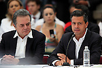 Institutional Revolutionary Party (PRI) Enrique Pena Nieto (R) answers to Trinidad Ramirez, of the San Salvador Atenco's Front of Peoples in Defense of Land,during the dialogue with members of the National Movement for Peace with Justice and Dignity (MPJD) in the Alcazar del Castillo de Chapultepec venue in Mexico City, May 28. 2012, while Pedro Joaquin Coldwell listens next to him.  Sicilia and the mothers of disappeared people demanded peace to Mexico and the punishment of the authorities linked to the organized crime in Mexico. Photo by Heriberto Rodriguez