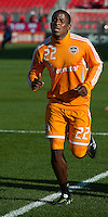 07 May 2011: Houston Dynamo midfielder Lovel Palmer #22 warms up during an MLS game between the Houston Dynamo and the Toronto FC at BMO Field in Toronto, Ontario..Toronto FC won 2-1.