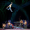 Amaluna from Cirque du Soleil at The Royal Albert Hall, London, <br /> Great Britain <br /> performance <br /> 15th January 2016 <br /> <br /> <br /> <br /> Teeterboard<br /> <br /> <br /> Photograph by Elliott Franks <br /> Image licensed to Elliott Franks Photography Services