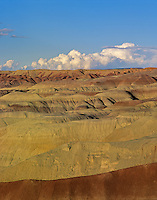 Badlands of Little Painted Desert Park with summer clouds in distance, north of Winslow, Arizona, AGPix_0058.
