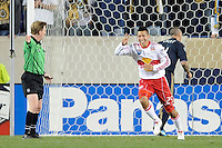Connor Chinn (25) of the New York Red Bulls celebrates scoring his second goal of the first half. The New York Red Bulls defeated the Philadelphia Union 2-1 during a US Open Cup qualifier at Red Bull Arena in Harrison, NJ, on April 27, 2010.