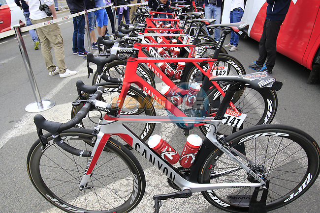 Alexander Kristoff's (NOR) and team bikes at the team bus before the start of Stage 3 of the 2016 Tour de France, running 223.5km from Granville to Angers, France . 4th July 2016.<br /> Picture: Eoin Clarke | Newsfile<br /> <br /> <br /> All photos usage must carry mandatory copyright credit (&copy; Newsfile | Eoin Clarke)