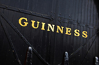 The golden Guinness name decorated a gate of the brewery in Dublin, Ireland