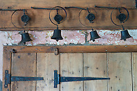 In the kitchen of the restored Shropshire farmhouse the original system of household bells still exists above the door
