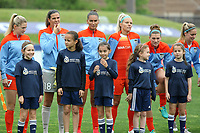 Piscataway, NJ - Saturday May 20, 2017: Kealia Ohai, Lydia Williams,  Poliana, Rachel Daly, Cari Roccaro, Morgan Brian prior to a regular season National Women's Soccer League (NWSL) match between Sky Blue FC and the Houston Dash at Yurcak Field.  Sky Blue defeated Houston, 2-1.
