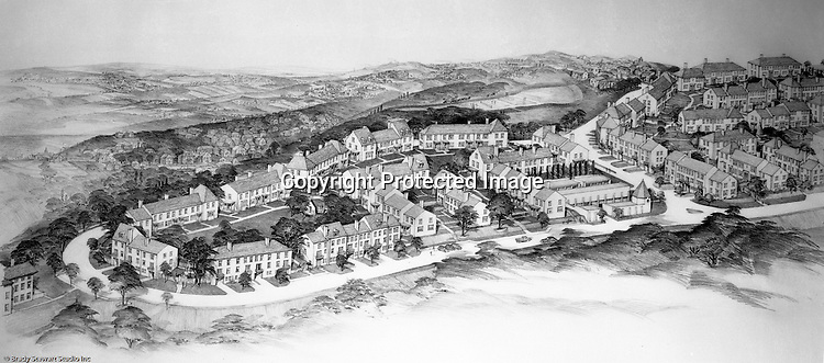 Mt. Washington:  View of a Chatham Village rendering - 1931. This rendering had a view from the city toward the south hills. Rendering was done by Ingham and Boyd Architects. Chatham Village was funded by the Buhl Foundation and the concept created renown city planners Clarence Stein and Henry Wright.  The architect for Chatham Village was Ingham & Boyd, an architectural firm founded in 1911 with offices located in the Empire Building in downtown Pittsburgh.  The architecture of Chatham Village was significant as it provided an architectural form to an entire model community with an intent to incorporate the many conveniences of modern living into housing of moderate cost. The architects had to devise new approaches to accommodate the automobile, radio, kitchen appliances, heating systems, and utility infrastructures while also attempting to give full realization to the idealistic goals of the Garden City movement.