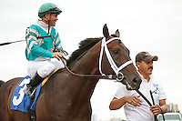 Soldat with Javier Castellano after winning his 2012 debut at Gulfstream Park. Hallandale Beach, Florida. 03-04-2012