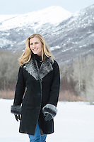 woman outdoors in a beautiful winter coat