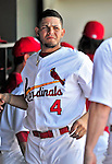 10 March 2010: St. Louis Cardinals' catcher Yadier Molina chats in the dugout during a Spring Training game against the Washington Nationals at Roger Dean Stadium in Jupiter, Florida. The Cardinals defeated the Nationals 6-4 in Grapefruit League action. Mandatory Credit: Ed Wolfstein Photo