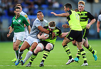 Kahn Fotuali'i of Bath Rugby puts in a tackle. Pre-season friendly match, between Leinster Rugby and Bath Rugby on August 26, 2016 at Donnybrook Stadium in Dublin, Republic of Ireland. Photo by: Patrick Khachfe / Onside Images