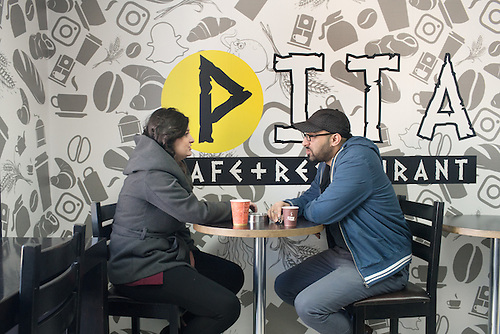 Palestine, Ramallah, Jan 2017. In the new multi-tech park, Pita Café is a place where startup entrepreneurs can meet and share experiences or just have a coffee break together.