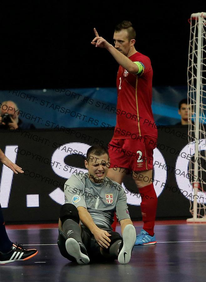 Miodrag Aksentijevic i Marko Peric  UEFA Euro 2016 Futsal Evropsko Prvenstvo, Srbija - Slovenija 2.2.1016. Februar 2. 2016. (credit image & photo: Pedja Milosavljevic / STARSPORT) total