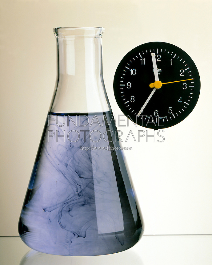 IODINE CLOCK REACTION.Turning point 8.5s.In 8.5 sec. solution has reached turning point- swirls of inky color