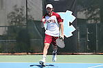 08 May 2015: David Fox (ENG). The University of Denver Pioneers played the Mississippi State University Bulldogs at Cone-Kenfield Tennis Center in Chapel Hill, North Carolina in a 2015 NCAA Division I Men's Tennis Tournament First Round match. MSU won the match 4-3.