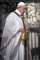 Pope Francis waves from the papamobile during his inauguration mass at St Peter's square on March 19, 2013 at the Vatican.