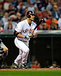4 September 2009: Cleveland Indians' designated hitter Travis Hafner in action against the Minnesota Twins at Progressive Field in Cleveland, Ohio. The Indians defeated the Twins 5-2 to take the first game of their three-game weekend series. Mandatory Credit: Ed Wolfstein Photo