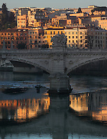 Ponte Vittorio Emanuele II (Vittorio Emanuele II bridge), Ennio de Rossi, Rome, Italy. Though De Rossis design was made in 1886 the bridge was not inaugurated until the year 1911. It connects the historical centre of Rome to the Vatican City. It consists of three arches spanning a distance of 110 metres. Picture by Manuel Cohen