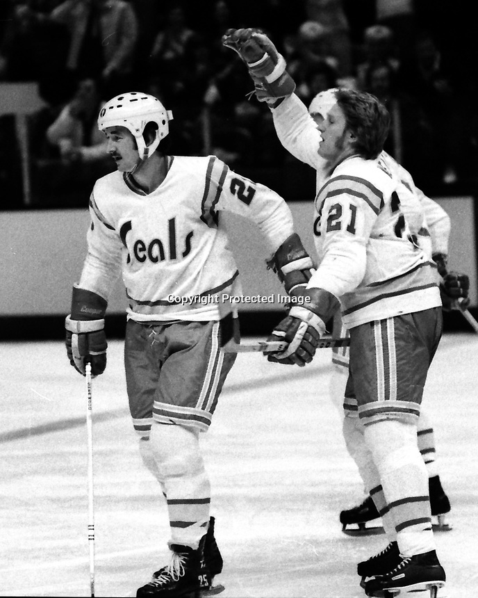 California Golden Seals goal...Al MacAdam and Stan Weir goal against the Chicago Black Hawks 1975.<br />
