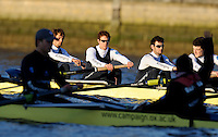"London; GREAT BRITAIN;  Oxford University Trial Eights for crew selection for 157th Boat Race OUBC bow four of Nurture, Bow, George BLESSLEY,  2. Matt POINTING, 3. Alex WOODS, 4. Alex DENT, get ready for the start   [April 2011]  raced over the Championship Course Putney to Mortlake  on the River Thames. Wednesday  08/12/2010   [Mandatory Credit; ""Photo, Peter Spurrier/Intersport-images].Crews.OUBC Nature; Surrey Station.Bow, Charlie AUER, 2. Tom WATSON, 3. Dan HARVEY, 4. David WHIFFIN, 5, Karl HUDSPITH, 6. Moritz HAFNER, 7. Ben MYERS, stroke. Constantine LOULOUDIS and cox Zoe DeTOLEDO...OUBC Nurture Middx Station [White Tops].Bow, George BLESSLEY, 2. Matt POINTING, 3. Alex WOODS, 4. Alex DENT, 5. Ben ELLISON,6. Simon HISLOP, 7. George WHITTAKER, Stroke Ben SNODIN and Cox Hannah LEADBETTER.."